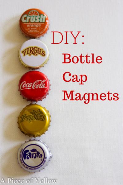 Diy bottle cap magnets a piece of yellow for Bottle cap hat diy